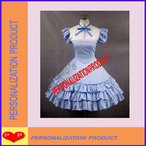 Sweet-goth-lolita-stunning-necktie-gingham-blue-Cosplay-Knee-Length-dress