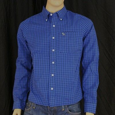L Men Abercrombie Fitch Morgan Mountain Dress Shirt Plaid Navy
