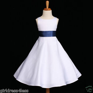 WHITE-NAVY-BLUE-A-LINE-WEDDING-FLOWER-GIRL-DRESS-12M-18M-2-4-6-7-8-10-12-14-16