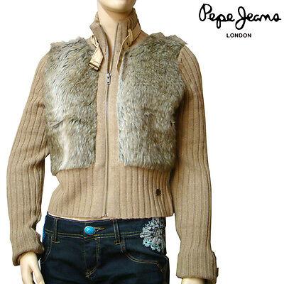 Pepe Jeans London Gilet Cardigan Fourrure Femme Beige
