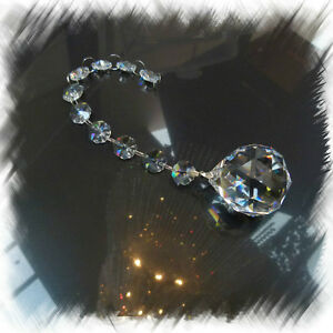 Hanging sparkling Lead Crystals Chandelier Cascade - 10x Octagons + Crystal Ball
