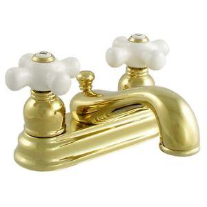 Retro Bathroom Sink Vanity Faucet White Cross Porcelain Handles Polished Brass