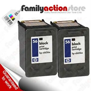 2 Pk HP 56 Black Remanufactured Ink Cartridges C6656 C6656A C6656AN HP56