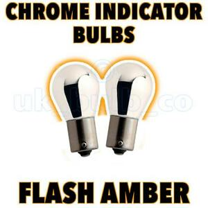 CHROME-SILVER-581-BAU15S-21W-AMBER-INDICATOR-BULBS-PAIR