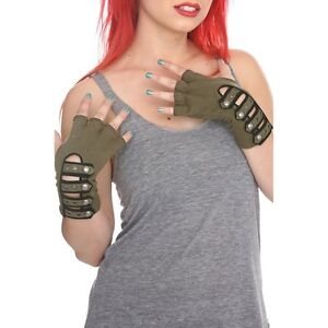 Tripp-NYC-Olive-Army-Military-Strap-Fingerless-Gloves-From-Hot-Topic-Gothic-Punk
