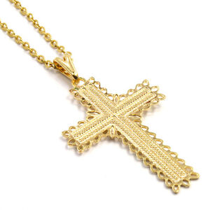 Gold 18k GF Chain & Cross Pendant Necklace Crucifix Antique Style Filigree Flat