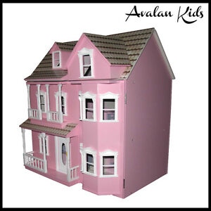 New-Beautiful-Wooden-Doll-House-Pale-Pink-Victorian-Doll-House-3-levels