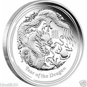 2012 Original Proof Lunar Dragon 1oz silver Proof Coin - SOLD OUT collectable