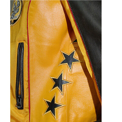 Details about Motorcycle jacket leather and nylon yellow womens bomb boogie show original title