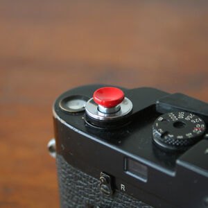 Red Concave Small Soft Release Button f/ Leica M3 MP M8 M9 Fuji X100 Nikon Canon