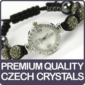Quality-Shamballa-WATCH-Bracelet-Real-Czech-Crystals-Shambala-Disco-Balls-GREY