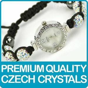 Quality-Shamballa-WATCH-Bracelet-Real-Czech-Crystals-Disco-Balls-in-PEARLESCENT