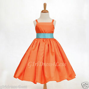 ORANGE-SPAGHETTI-STRAPS-WEDDING-PARTY-FLOWER-GIRL-DRESS-12-18M-2-3-4-5-6-8-10-12