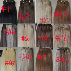AAA-15-034-36-034-Remy-Human-Hair-Weft-Extensions-Straight-100g-Width-59-034-More-Colors