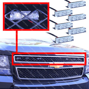 18 LED Emergency Vehicle Strobe Lights for Front Grille/Deck - White