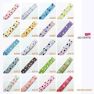 3-8-10-yds-MIXED-POLKA-DOT-GROSGRAIN-RIBBON-YOU-PICK