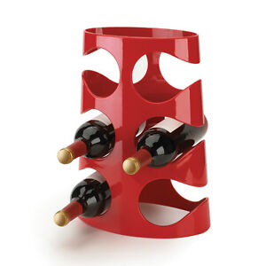 New Contemporary Modern Umbra Red Acrylic 6 Bottle Wine Rack Freestanding Simple