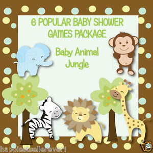 details about 6 jungle animal printable personalized baby shower games