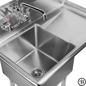 ... Stainless Steel Utility Sink With Right Drainboard By Stainless Steel Sink  With Drainboard Ebay ...