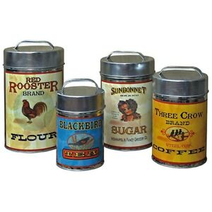 Tin-Vintage-Flour-Sugar-Coffee-Tea-Canisters-Set-of-4-Home-Kitchen-Decor-NEW