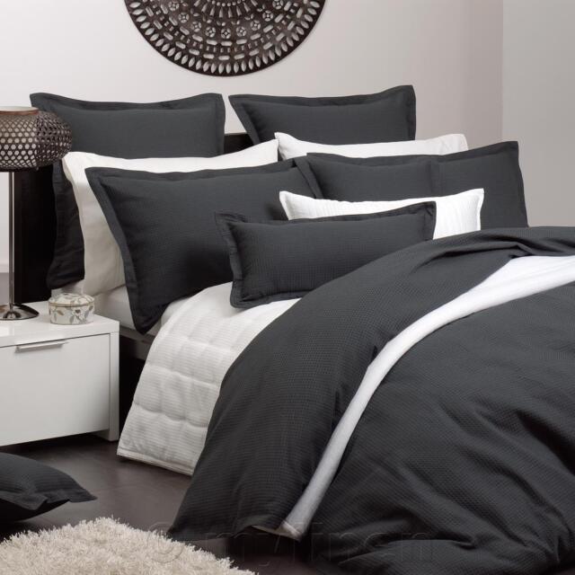 Queen Bed Platinum Logan and Mason Ascot Granite Black Quilt Doona Cover Set 3PC