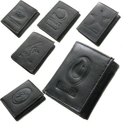 Brand New NFL Team Black Tri-Fold Leather Wallet Assorted Teams