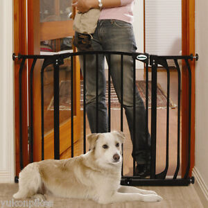 38 42 auto close adjustable black indoor dog pet baby safety gate. Black Bedroom Furniture Sets. Home Design Ideas