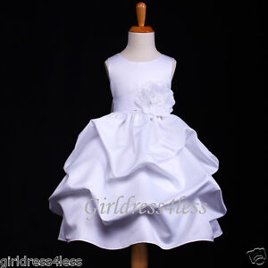WHITE-PAGEANT-PRINCESS-WEDDING-PICK-UP-FLOWER-GIRL-DRESS-6M-18M-2-4-6-8-10-12