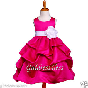 FUCHSIA-WHITE-PARTY-WEDDING-PICK-UP-FLOWER-GIRL-DRESS-6M-12M-18M-2-4-6-8-10-12