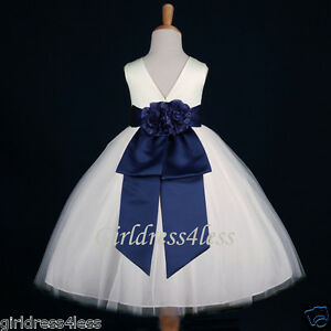 Ivory Navy Blue Jr Bridesmaid Party Flower Girl Dress 12