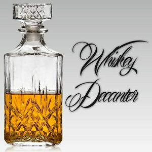 Whiskey Wine Bourbon Brandy Sherry Liqueur Alcohol Decanter Square Glass Bottle
