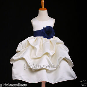 IVORY-NAVY-BLUE-PICK-UP-WEDDING-FLOWER-GIRL-DRESS-6M-12M-18M-2-4-6-8-10-12
