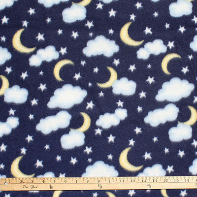 Stars moons clouds on blue polar fleece fabric for Fabric with moons and stars