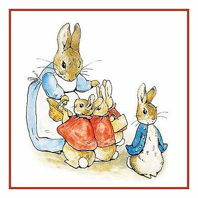 Beatrix Potter Illustration Peter Rabbit Family Walk Counted Cross Stitch Chart