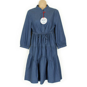 NEW FABULOUS BOHO SMOCK/ GYPSY STYLE DENIM STRETCH DRESS SIZE 10 WOW