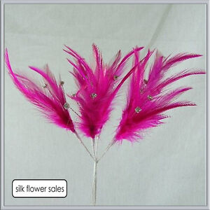 6 stems of wired diamante feathers (18 diamantes in total) various colours