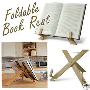 Fold-Away-Foldable-Book-Rest-Wood-Holder-Reading-Stand-Cookbook-Rack-w-Pouch-New
