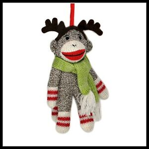 SOCK-MONKEY-ORNAMENT-Reindeer-Antler-Winter-Scarf-6-Christmas-Tree-NEW-Toy-Doll