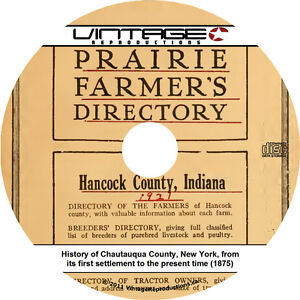 1921 Prairie Farmer's Directory of Hancock County, Indiana IN - Book on CD