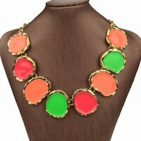 Multicolor Gold Tone Enamel Chunky Necklace Pendant--NEW!