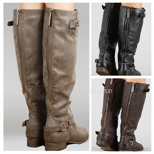 New-Womens-Knee-High-Riding-Boots-Zipper-Buckle-Strap-Fashion-Tan-Brown-Black