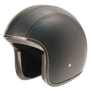 M Medium M2R Cafe Racer 225 Leather Retro open face motorbike helmet - no peak
