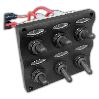 MARINE ELECTRIC 6 GANG LED TOGGLE SWITCH PANEL FOR BOAT AND RVs – FIVE OCEANS