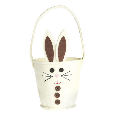 dotcomgiftshop CREAM FELT BUNNY EASTER EGG BASKET. RABBIT GIFT TABLE DECORATION