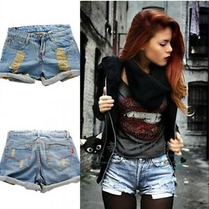 Hot-Retro-Womens-Girls-Light-Blue-High-Waist-Flange-Hole-Wash-Jeans-Denim-Shorts