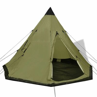vidaXL 4-person Tent Green 2 Windows Outdoor Camping Hiking Traveling Shelter