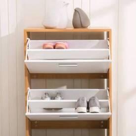 Shoe Rack 3 Drawers Organizer Cabinet Shoe Storage White