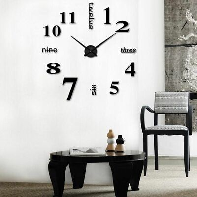 Large Wall Clock Big Watch Decal 3D Stickers Roman Numerals DIY Wall Home Black