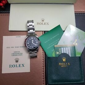 New Boxed - Rolex Air-King silver bracelet/Bezel with black face come complete Rolex box and bag