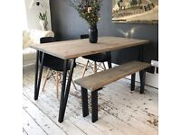 ARTEMIS Handmade Tapered Black Steel Leg Dining Table Bench and Chairs Industrial - Lily